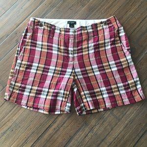 J. Crew size 0 City fit plaid shorts